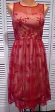 NWOT Geode Cherished Charm Lace Dress in Red Sz XS Retro Vintage Read Measure