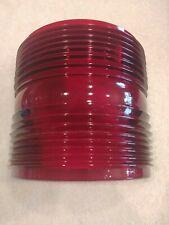 "Red Fresnel Glass Running Light Lens 7 1/4"" Tall Vintage Maritime Navigation"