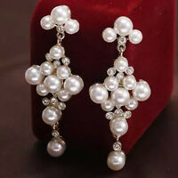 Stylish Women Rhinestone Faux Pearl Earrings Long Drop Dangle Ear Stud Jewelry