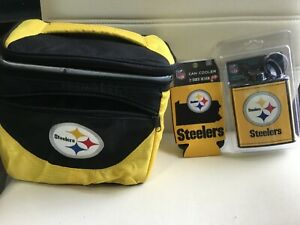 NEW PITTSBURGH STEELERS 7 OZ PLASTIC FLASK ,LUNCH BOX ,CAN COOLER