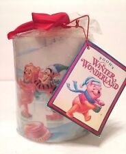 "Pooh's Winter Wonderland Candle The Disney Store 4.5"" x 4"" - Htf New w/Tags Rare"