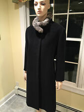 CINZIA ROCCA DUE Black Cashmere/Wool & Chinchilla Fur Long Coat SIZE 16 X- Large