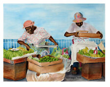 Print of  painting of Market Vendors  Barbados 8x10 June Haynes