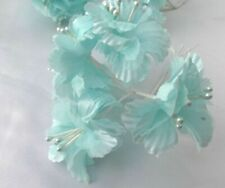 6  Pretty Aqua Double Layer Flowers - Crafts Clearance Sale - Headdress, Wedding