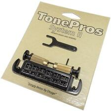 TonePros AVT2M Wraparound Bridge/Tailpiece with Locking Studs for PRS SE, Black
