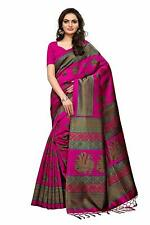 Indian Women's Designer Pink Mysore Silk Saree with Blouse Piece, Free Shipping