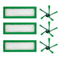 3 HEPA Efficient Filter + 3 Side Brush For Vorwerk Kobold VR200 Vacuum Cleaner