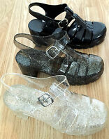 BUY1GET1FREE Women Girl Sandal Jelly Chunky Heel Wedge New Retro Gladiator Beach