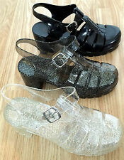 BUY1GET1FREE Women Girl Sandal Jelly Chunky Heel Wedge New Retro Gladiator Beach