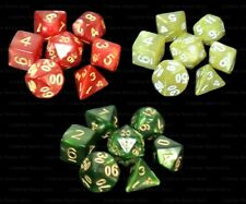 3 Sets of 7 Polyhedral Dice - Crimson Yellow Jade Green Marble  - 3 Dice Bags