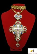 Holy Land Handmade Gold Plated Pectoral Cross Jesus Enamel For Priest Bishops