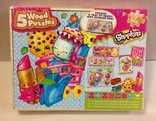 New Shopkins 5 Wood Puzzles Set Storage Box Toy Game Cardinal