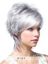 Wie Echthaar! Kurz Silber Grau Perücke Mode Dame Haar Perücken Wig Neu Trends