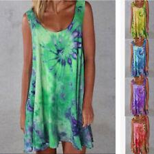 Women Summer Loose Sleeveless Tie-dye print Dress Casual V Neck Beach Sundress