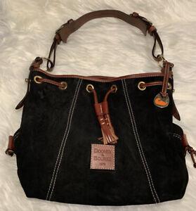 Dooney & Bourke Vintage Black Sueded Leather Shoulder Bag Adjust. Strap Rare