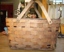 Vintage Wood Woven Picnic Basket w/ Handles ~