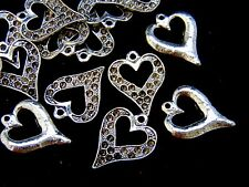 15 Pcs - 23mm Tibetan Silver Heart Pendant Can Hold Rhinestones Jewellery K55