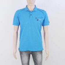 Duck & Cover Mens Size M Odyssey Blue Short Sleeve Polo Shirt Top