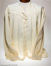 Renaissance Medieval Men's Shirt  Prima Cotton Ecru Laced Front Mandarin Collar