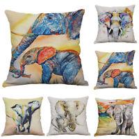Animal Elephant Print Sofa Cushion Cover Cotton Linen Pillow Case Home Decor