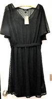 New Look Curve Dobby Polka Dot Skater Dress, Black, US 16, UK 20 MSRP $48.00
