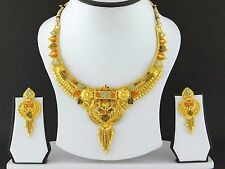 UK Indian Bollywood Jewelry Fashion Gold Plated Wedding Necklace Earring Set A8