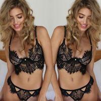 Women's Lingerie Babydoll Underwear Sleepwear Nightwear Bra Set G-string Panties