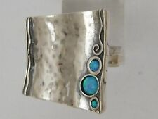 Sterling silver ring BOHO chic blue opal ring for woman Israeli Jewelry