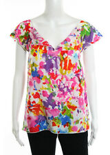 LE SHACK Pink Multicolored Silk Abstract Printed Short Sleeve Blouse Sz 2