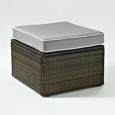 Crosley Palm Harbor Outdoor Wicker Ottoman In Brown With Grey Cushions