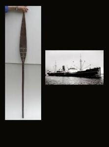 Rare Maori Canoe Paddle with paua shell, New Zealand. M/S ASTORIA. 1940.
