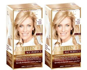 Loreal Excellent Age Perfect 9G Light Soft Golden Blonde Hair Color (2 Pack)