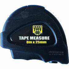 12 pc 8m x 25mm Heavy Duty Measuring Tape with Rugged Case [Metric Tape Measure]