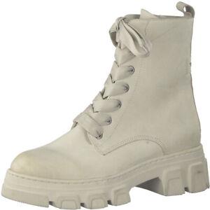 Tamaris Boots Stiefelette Trend beige chunky Leder Neu derbe Herbst Winter Boots