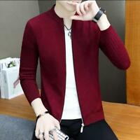 Mens Coats Slim Fit Sweater Knitted Jacket Knitwear Outwear Korean Stand Collar