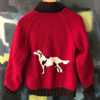 Vintage Red Hand Knit Zip Cardigan Sweater L XL Dog Lover Cowichan Unisex Gift