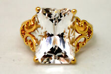 14K Solid Gold and Large White Sapphire Ring Size 6 3/4