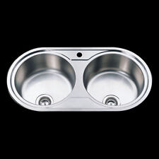 Drop In Topmount 304 Staineless Steel Round Double Bowl Kitchen Sink 915x485x200