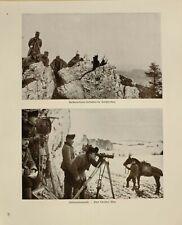 1916 WWI WW1 PRINT GERMAN MAGAZINE ARTILLERY OFFICERS OBSERVING ~ SIGNAL PARTROL
