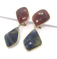 14K Yellow Gold Pierced Earrings w Ruby / Sapphire Matrix 14 grams
