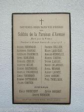 IMAGE d' AVIS MORTUAIRE : SOLDATS de la PAROISSE d'AVESSE (Sarthe), 1914-1918