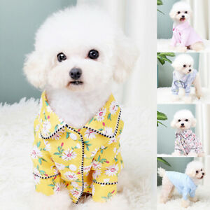 Pet Dog Cat Pajamas Soft Clothes Apparel Cute Puppy Shirt Jumpsuit Sleepwear