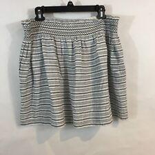NEW Caslon XL Skirt Smocked Cotton Blue/White Stripe Above Knee Pockets $59