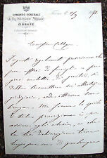 1871 ECCEZIONALE LETTERA DEL GENERALE RAFFAELE CADORNA (1815 - 1897) DA FIRENZE