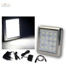 6er Set DEL Chrome Sous-Lampe/16 DEL Froid-Blanc, Avec Transformateur, construction projecteur