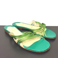 CHRISTIAN LOUBOUTIN Womens Frescobaldi Flat Slip On Sandals Green 37 (MSRP $895)