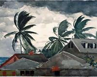 Winslow Homer Hurricane Bahamas Tropical Island Painting Real Canvas Art Print