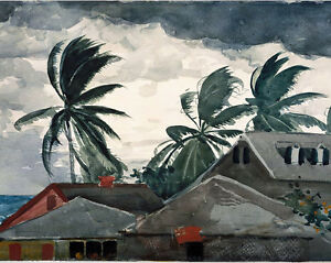 Winslow Homer Hurricane Bahamas Tropical Island Painting Real Canvas Art Print