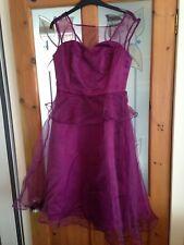 Lindy Bop Size 10 Madison Dress China Rose Purple Peplum Party Christmas Evening
