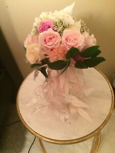Pink White Bridal Bouquet Cascading White Leaves With Ribbon Wedding Accessories